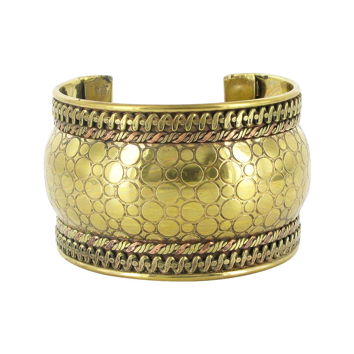 Gem Avenue 41mm wide Designer Two Tone Finish Fashion Cuff Bracelet