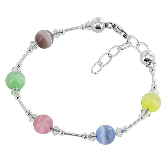 Gem Avenue SCBR311 Sterling Silver Multi Crystal & Cats Eye 5 to 6 inch Adjustable Bracelet at Sears.com