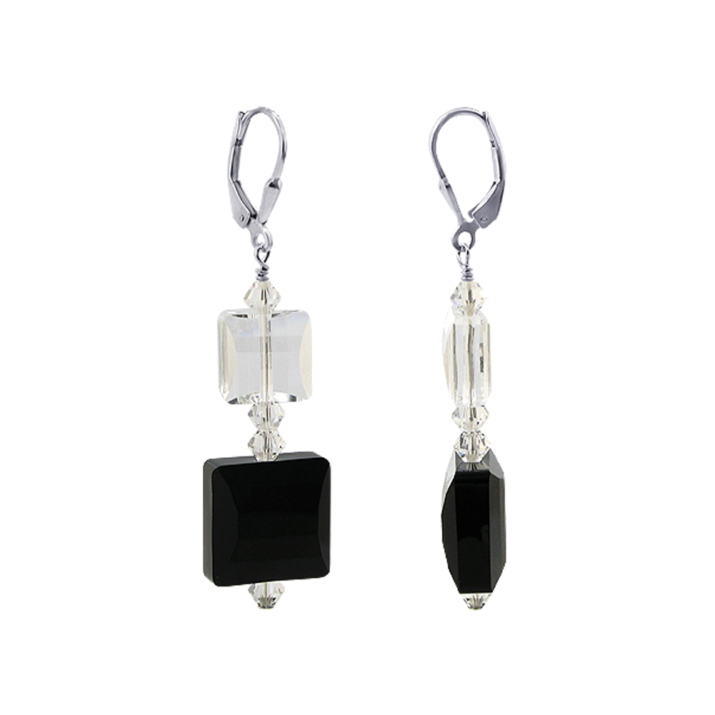 Gem Avenue SCER657 .925 Silver Clear & Black Onyx Swarovski Elements® Crystal Earrings