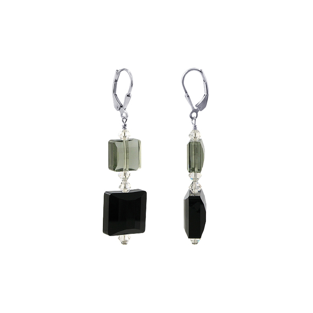 Gem Avenue SCER661 .925 Silver Black Diamond & Onyx Swarovski Elements® Crystal Earrings