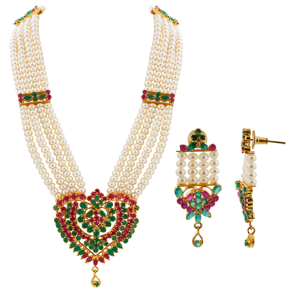 Gem Avenue Gold plated Pearl Simulated Emerald and Ruby Ethnic Earrings with Adjustable Necklace set