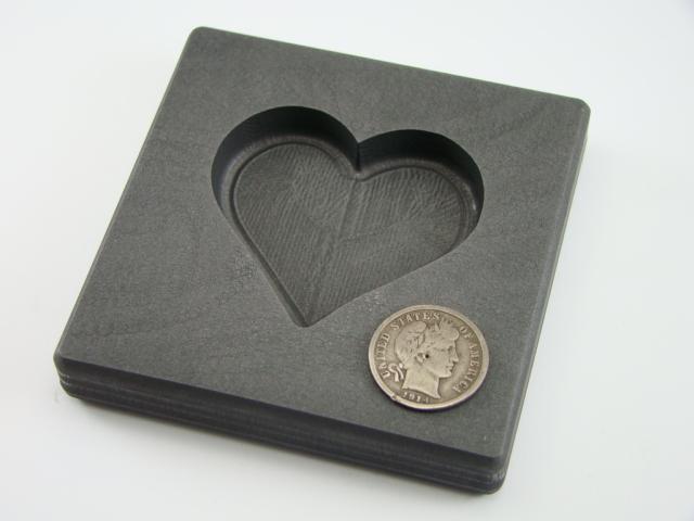 Valentines Day Heart 5oz Gold High Density Graphite Mold 3oz Silver