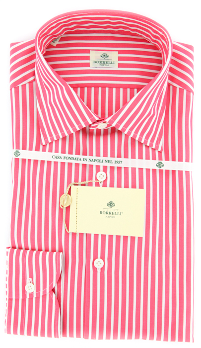 New 425 Luigi Borrelli Pink White And Burgundy Striped
