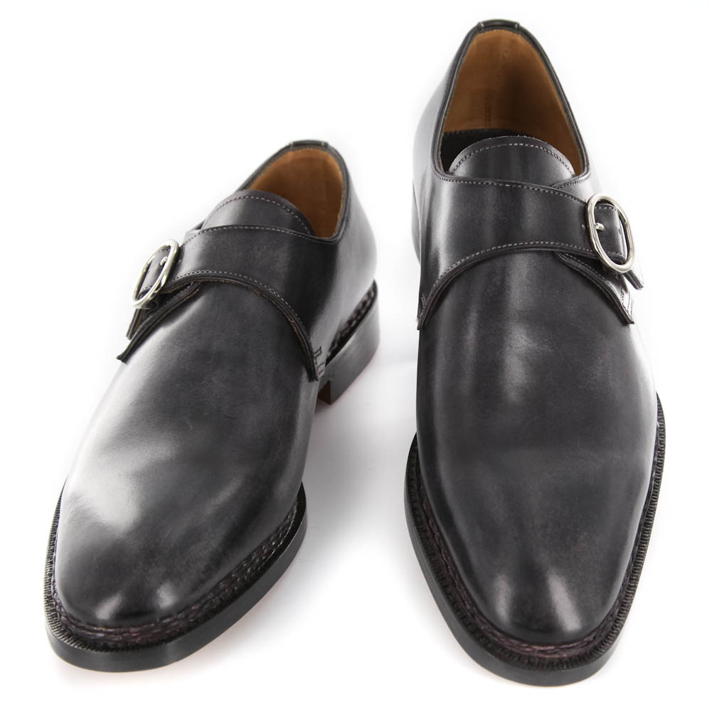 New $3200 Santoni Gray Leather Shoes - Monk Straps