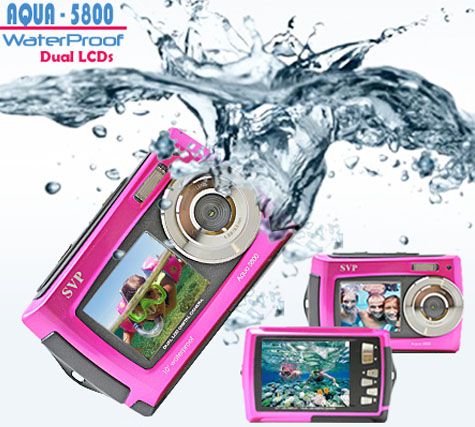 "SVP 18MP Max. Underwater Digital Camera & Video Recorder - Dual LCDs Screen (2.7"" + 1.8"" TFT) - Pink at Sears.com"