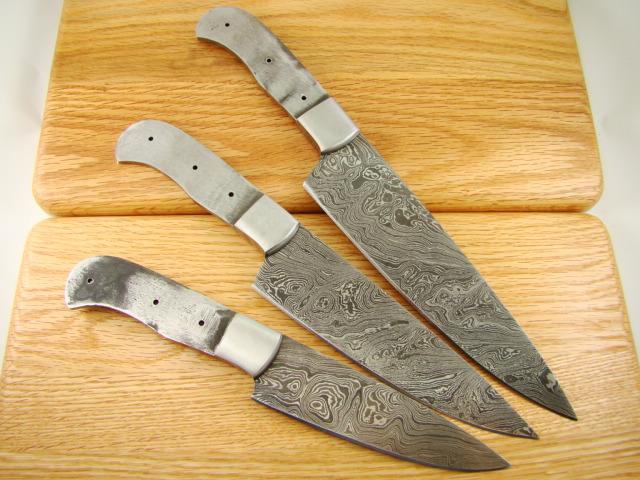 3pc professional chef knife set custom damascus blank knifemakin g ckset 3 b98 ebay. Black Bedroom Furniture Sets. Home Design Ideas