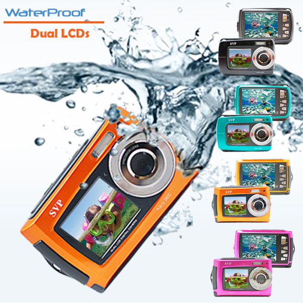 SVP-Underwater-18MP-Dual-LCDs-Digital-Camera-Videocam-Black-Blue-Orange-Pink