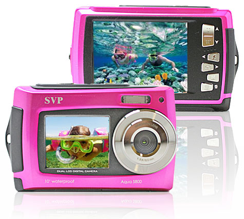 SVP-UnderWater-18MP-Max-Pink-Digital-Camera-Video-w-Dual-LCDs-Screen-NEW