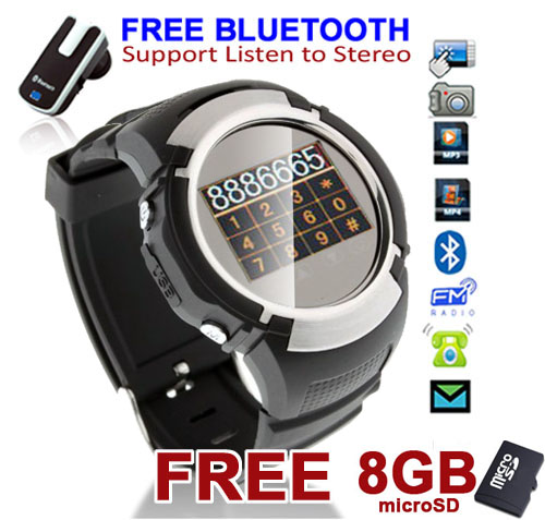 Indigi Unlocked! Stylish GSM Bluetooth Watch Cell Phone w/ Camera MP3 MP4 FM Radio [FREE 8GB] at Sears.com
