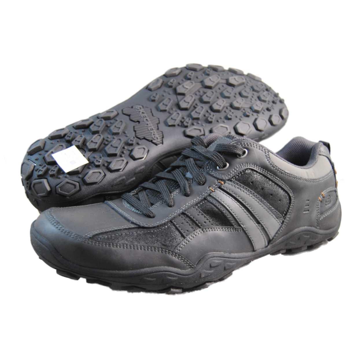skechers mens pebble galeno black walking shoes 63405 blk