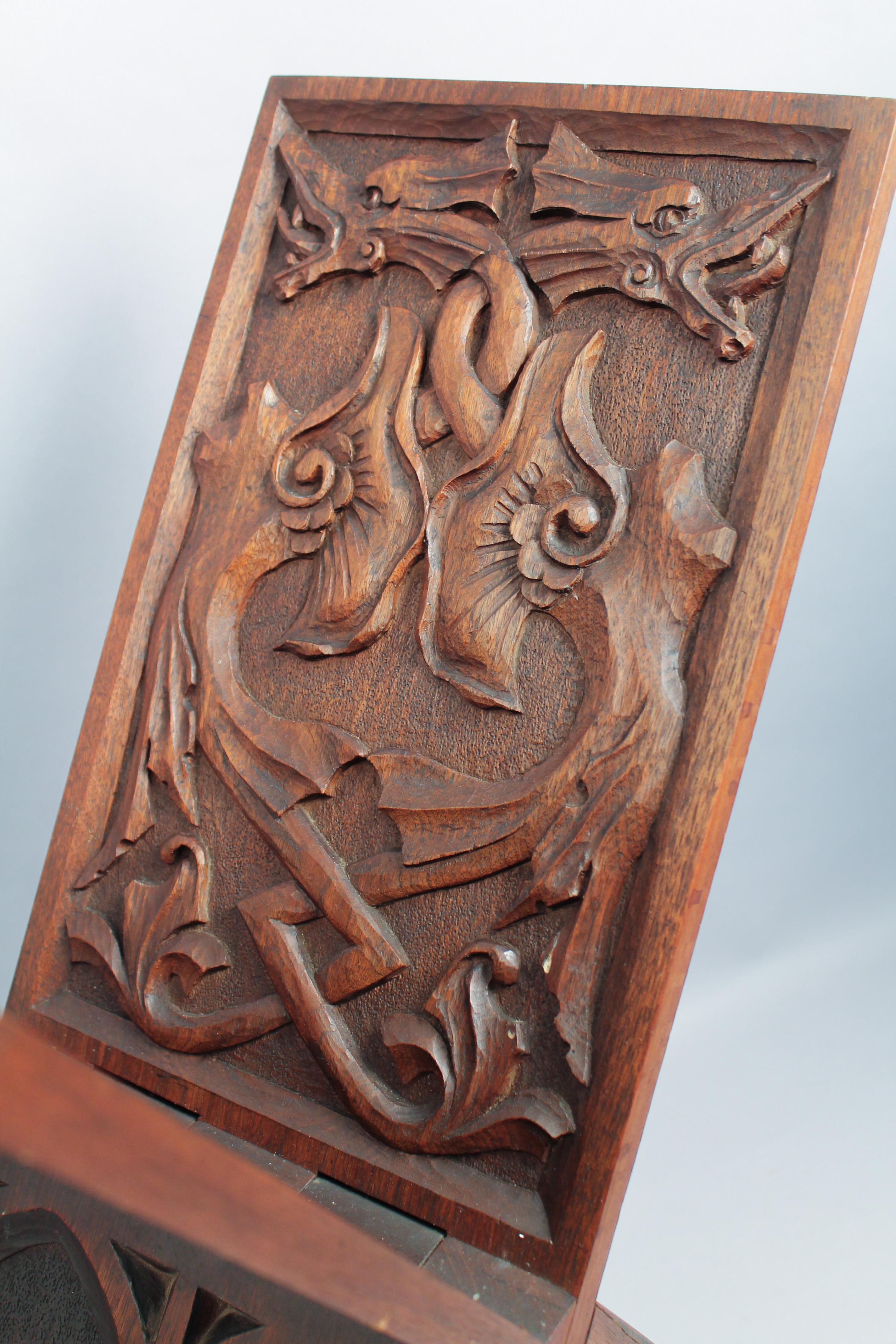 Amazing antique c relief carved oak arts crafts
