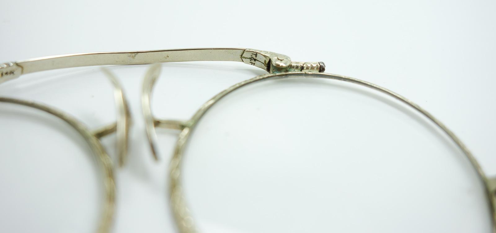 14k Solid Gold Eyeglass Frames : Vintage 1920s Art Deco 14K White Gold Filigree Mechanical ...