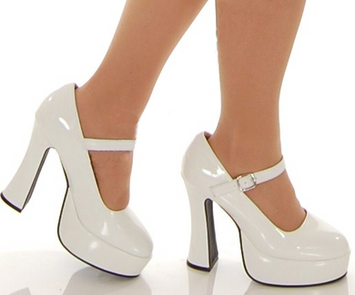 White Mary Janes Chunky Heel Platform Jane Shoes | eBay