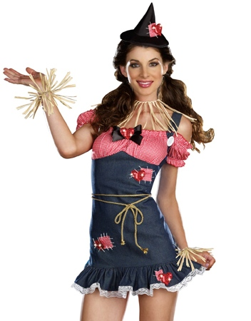 sexy cute womens wizard of oz scarecrow halloween costume ebay. Black Bedroom Furniture Sets. Home Design Ideas