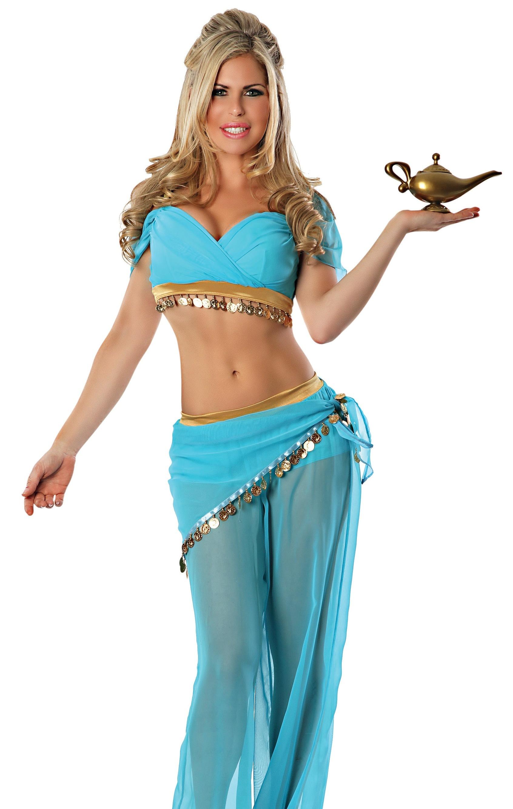 Sexy Womens Jasmine Arabian Princess Genie Halloween Costume