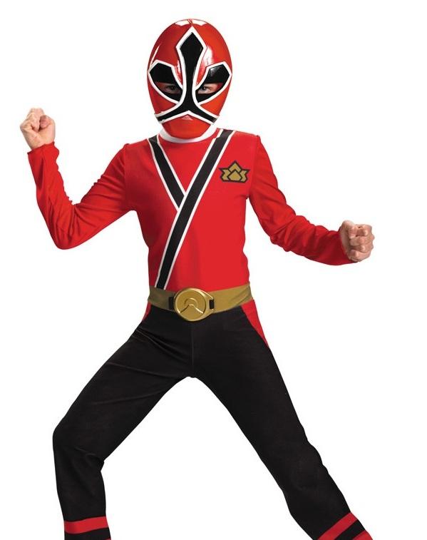 Boys Power Rangers Red Samurai Kids Halloween Costume L