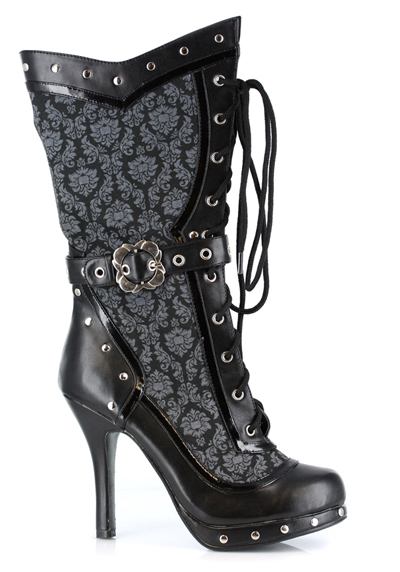 Ellie Black Damask Studded Victorian Steampunk Cosplay Costume Ankle Boots at Sears.com