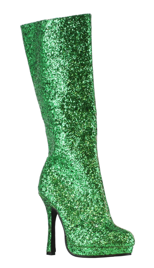 "Ellie Sexy Disco Glam Knee High 4"" Heel Green Glitter at Sears.com"
