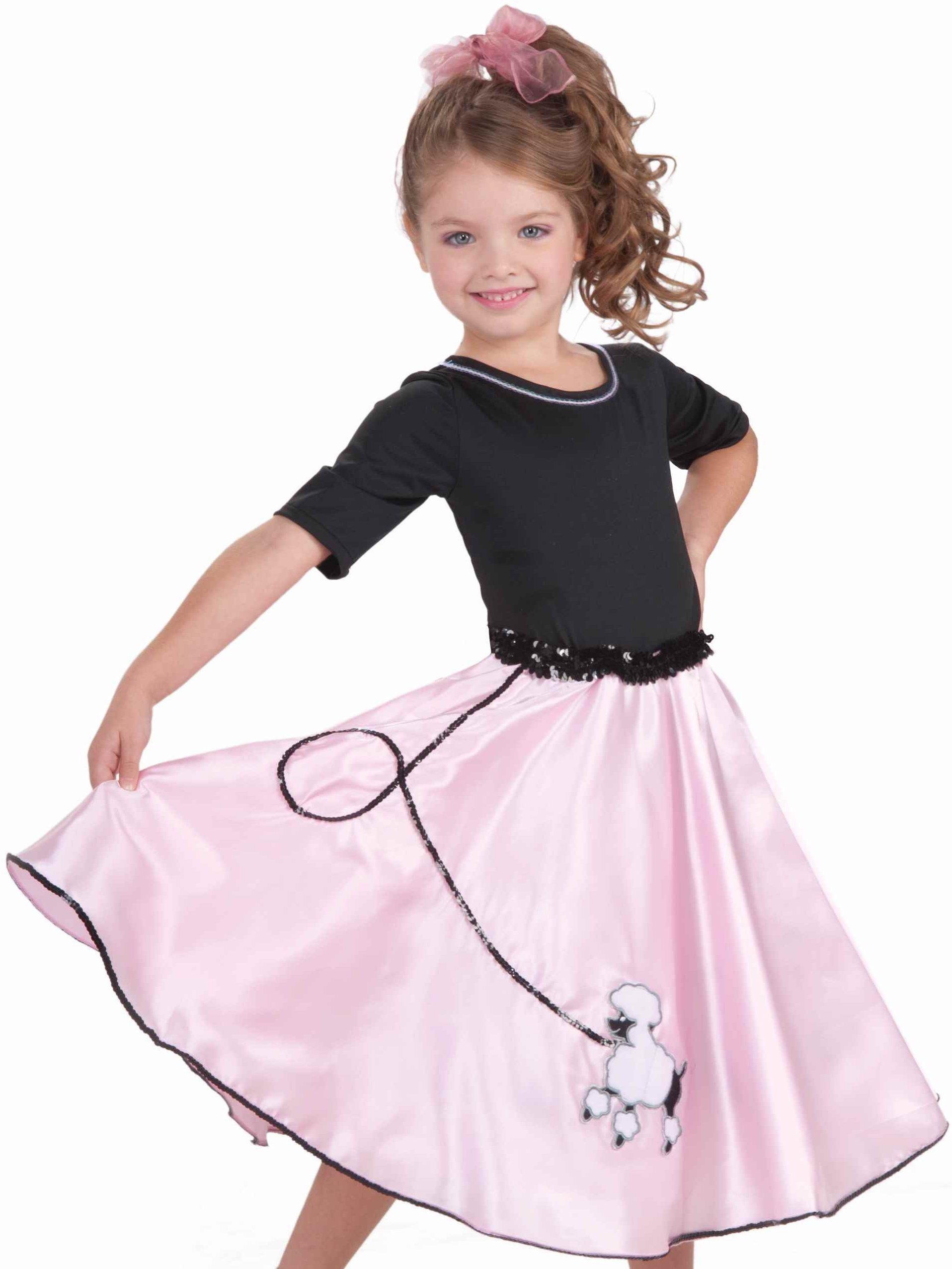 Girls 50s Poodle Skirt Sock Hop Kids Halloween Costume | eBay