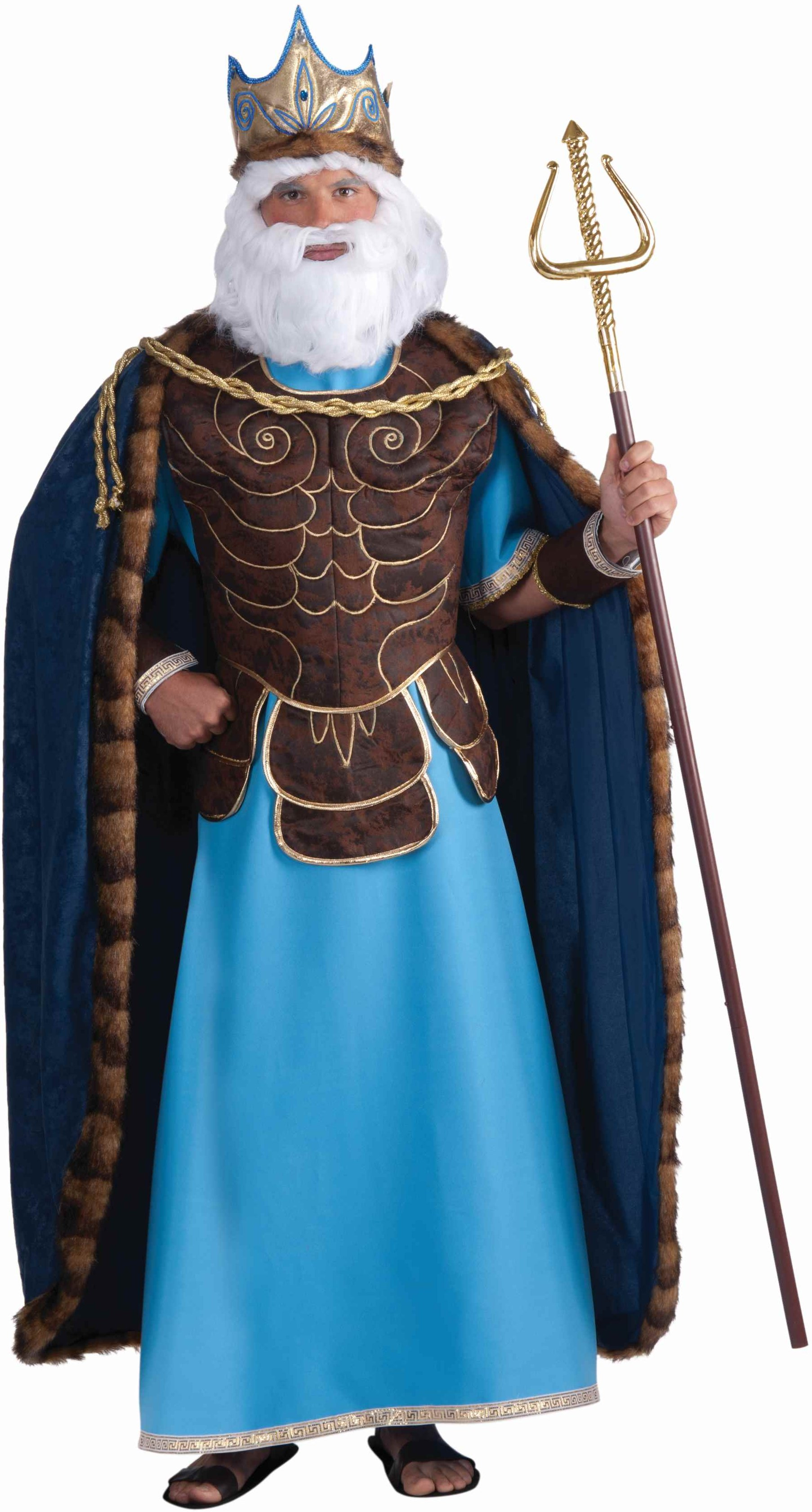Neptune Poseidon Greek Roman God King Halloween Costume   eBay Poseidon Costume For Men