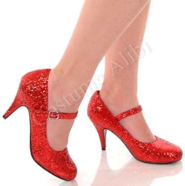 Dorothy Red Glitter Mary Jane Pumps High Heel Shoes | eBay