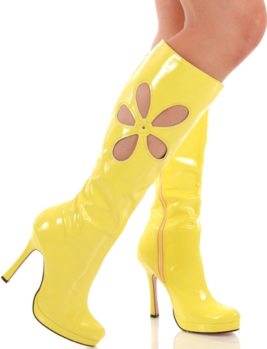 Sexy-Yellow-Retro-70s-Flower-Knee-High-4-5-Heel-Go-Go-Boots