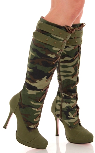 Leg Avenue Sexy Camo Canvas Lace Up Knee High Heeled Army Boots at Sears.com