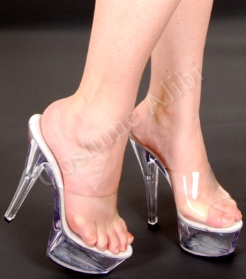 Sexy Clear High Heel Mules 6&amp034 Heels Platform Shoes | eBay
