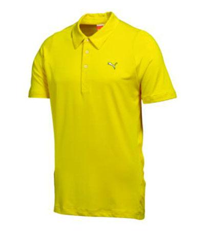 New puma golf duo swing mesh polo shirt cyber yellow for Yellow golf polo shirts