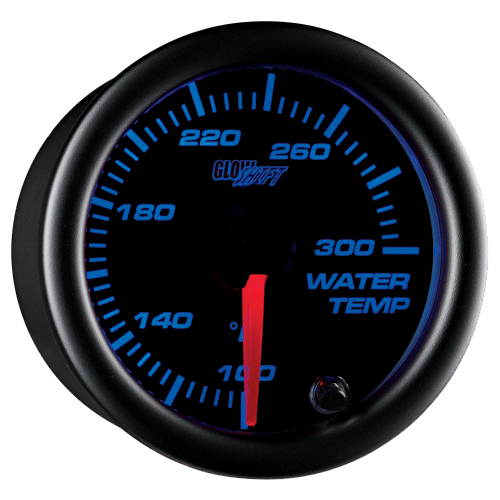 52mm Glowshift Black 7 Color Led Water Temperature Gauge W