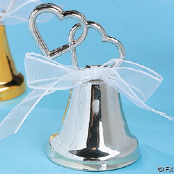 U CHOOSEWEDDING SILVER DOUBLE HEART BELL PLACE CARD HOLDERS Reception Favor