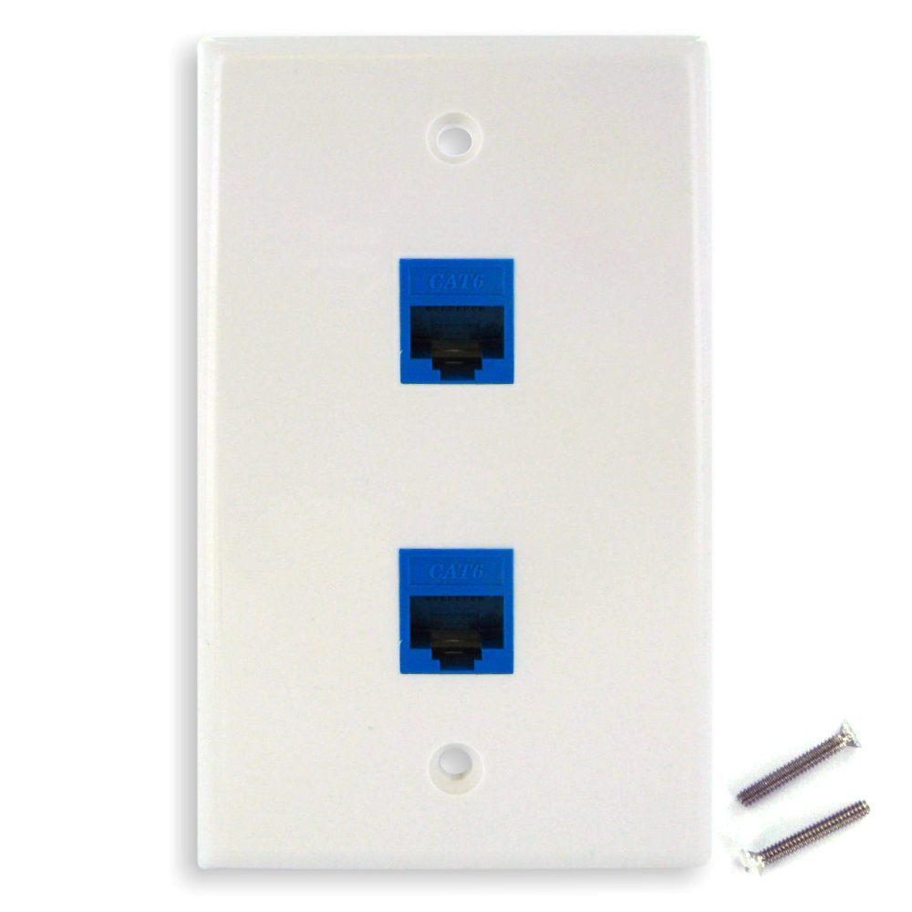new dual cat6 ethernet jacks w   keystone wall plate
