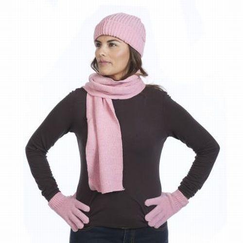 3pc-Chenille-Hat-Gloves-amp-Scarf-Set-Ladies-Soft-Warm-Fine-Knit-Choose-Color