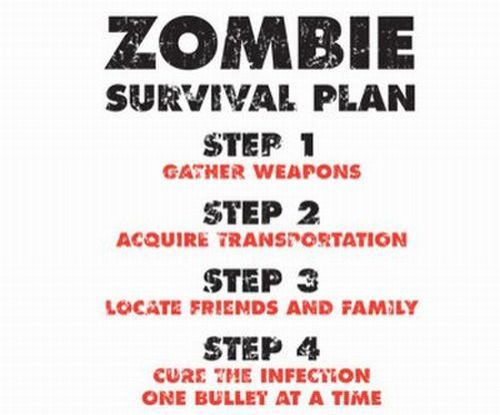 Zombie-Survival-Plan-T-Shirt-Walking-Dead-Rules-White-Graphic-Tee-Mens-S-XXXL