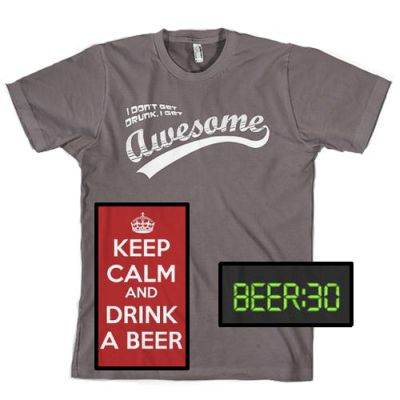 Beer-Drinking-T-Shirts-Funny-Drunk-Party-Time-Get-Awesome-Keep-Calm-Men-039-s-Cotton