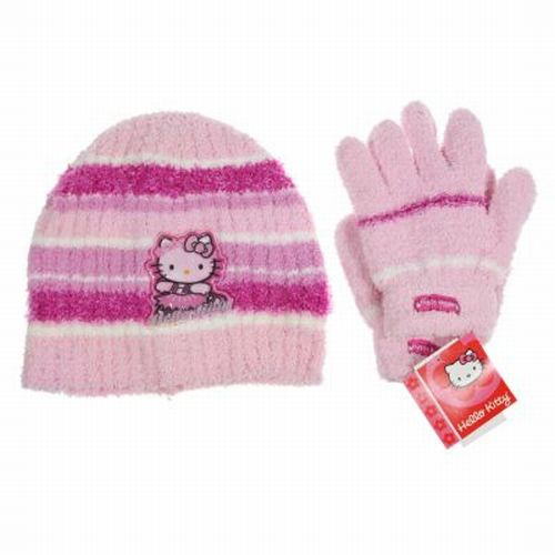 Hello-Kitty-2pc-Hat-Glove-Set-Kids-Girls-Winter-Accessories-Choose-Your-Color