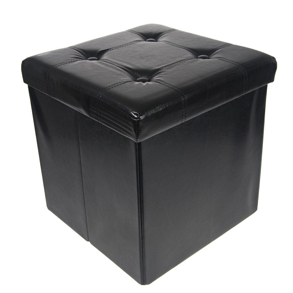 Storage Ottoman Faux Leather Collapsible Foldable Seat Foot Rest Coffee Table Ebay