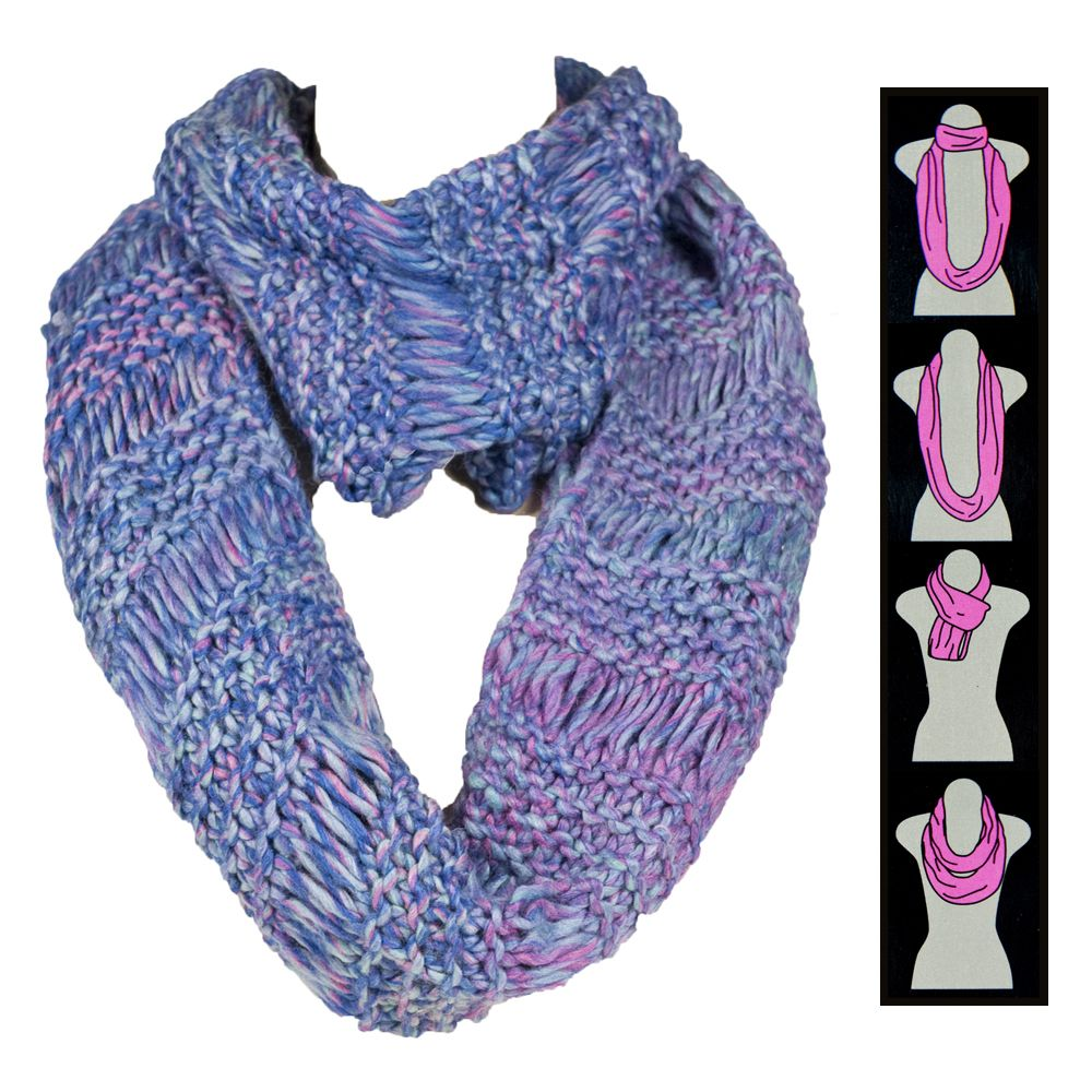 Chunky Marled Knit Infinity Scarf Fashion Style Winter