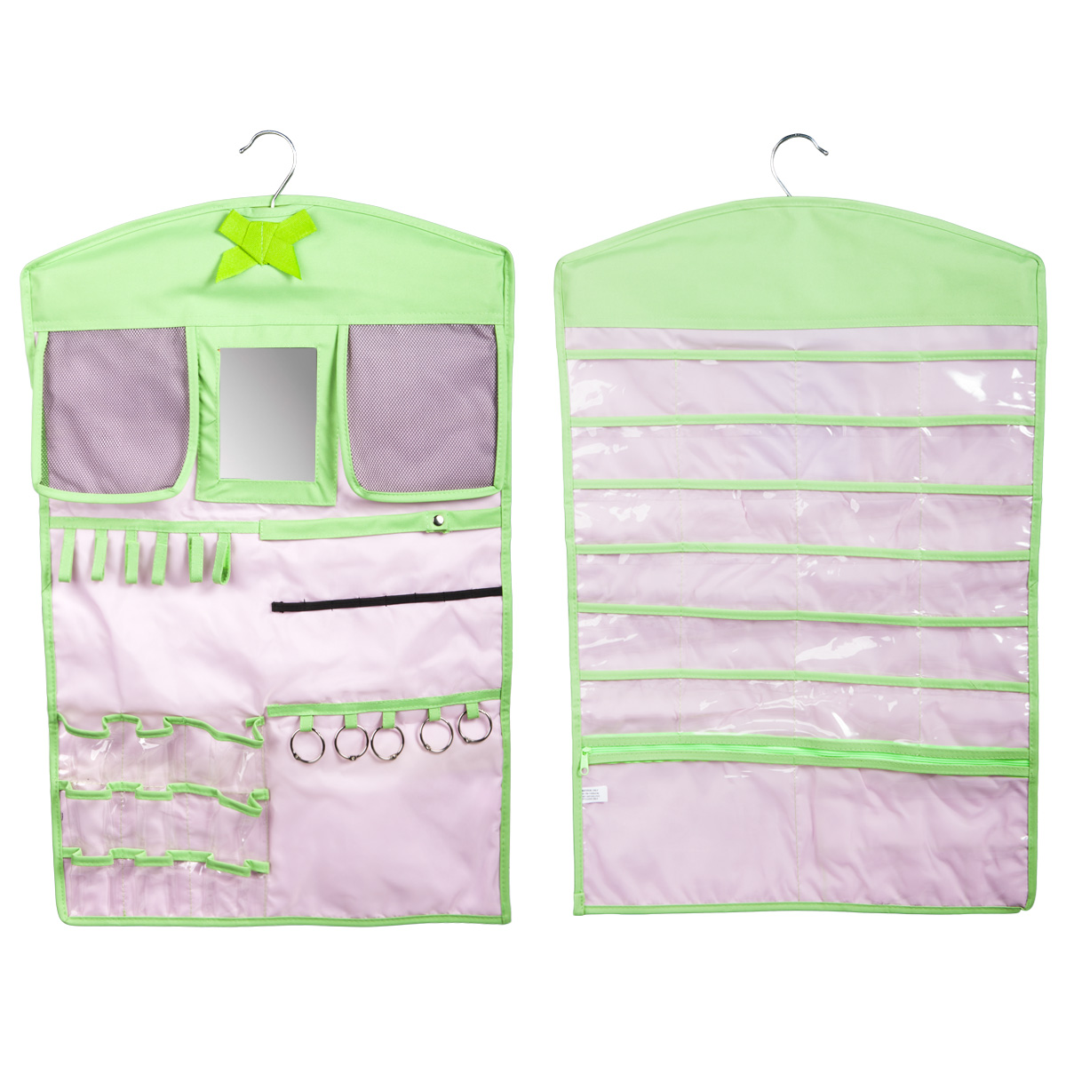 hanging jewelry organizer double sided closet storage pockets earrings necklaces ebay. Black Bedroom Furniture Sets. Home Design Ideas
