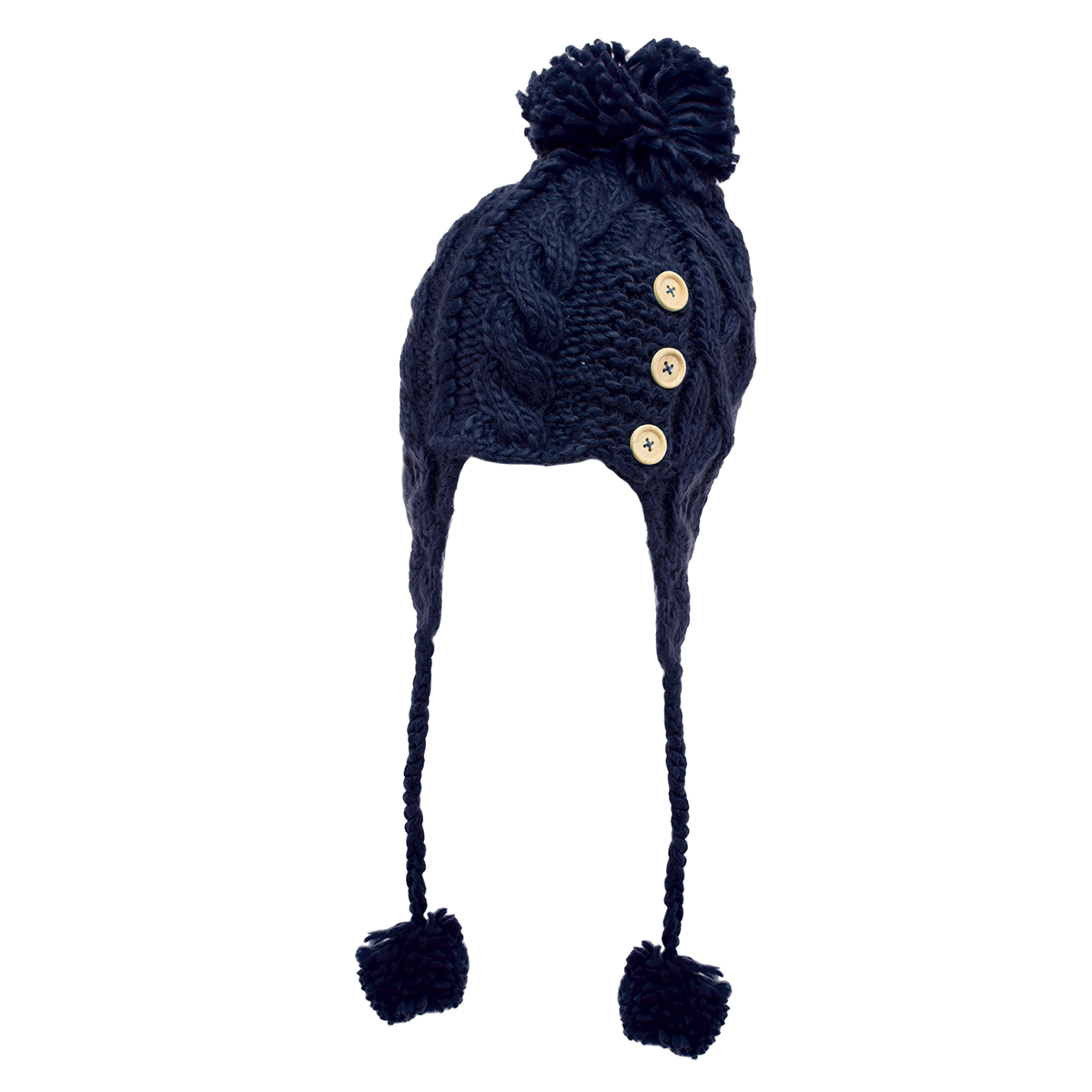 Women's Cable Knitted Winter Beanie Hat Warm Ladies Fashion Pom Cap Soft Earflap