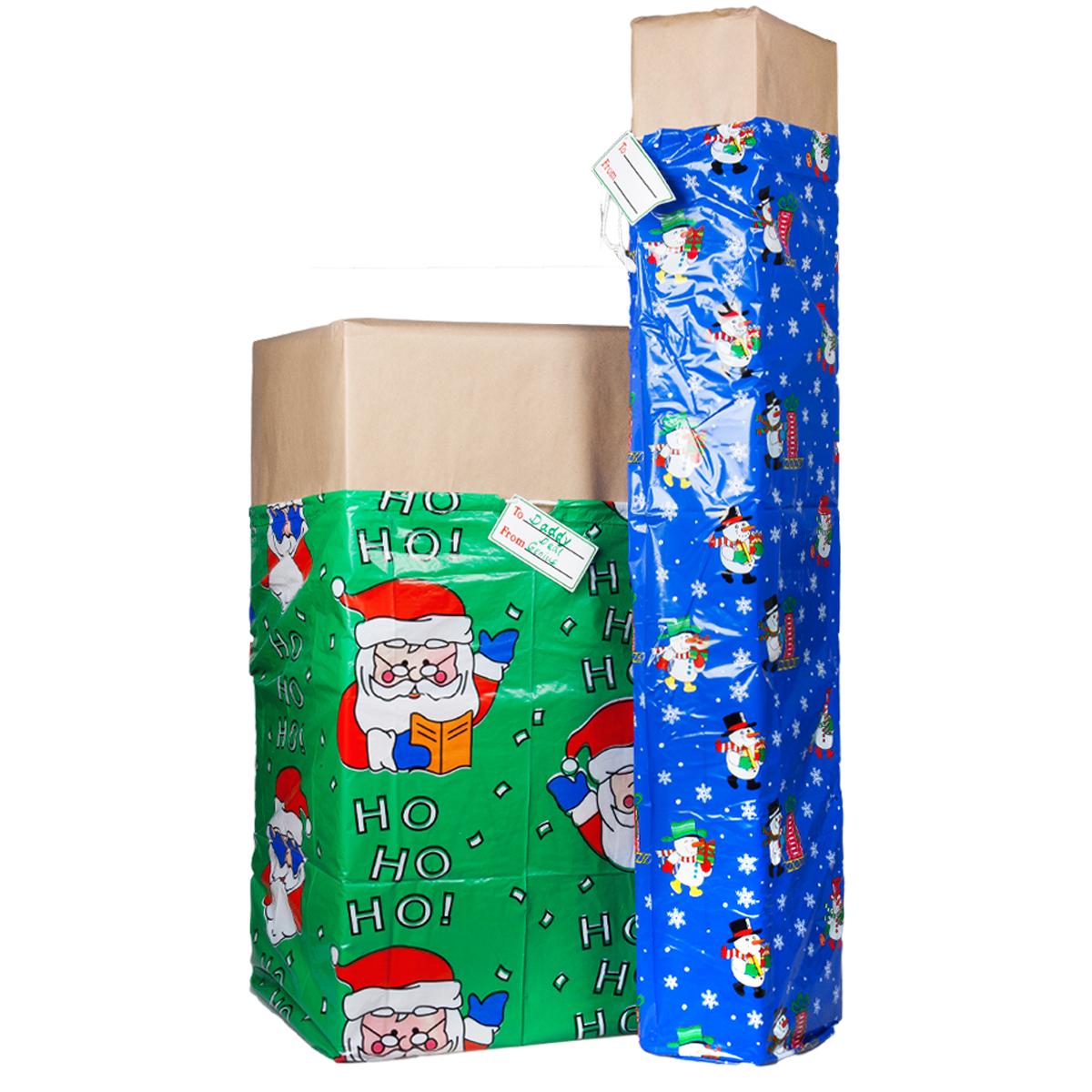 Xl christmas holiday gift bags for big presents set tags