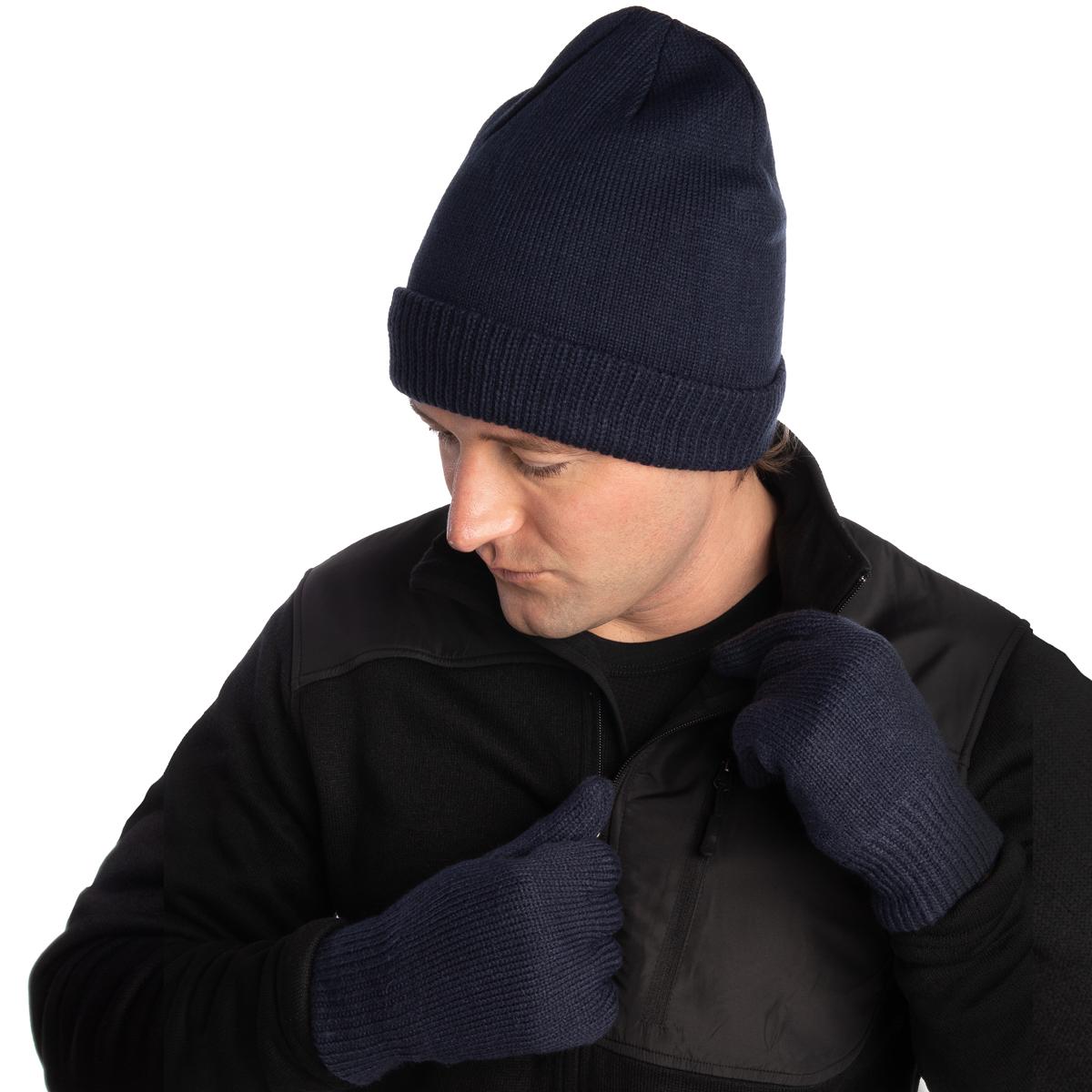 Mens Winter Hat and Gloves Set Warm Fleece Beanie Knit Hat with Winter Gloves