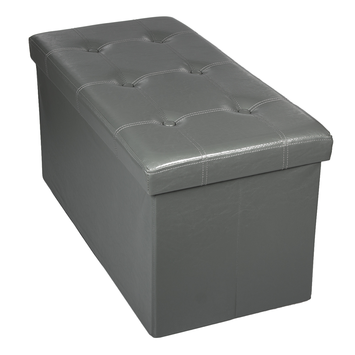 Storage Bench Ottoman Faux Leather Foldable Collapsible Foot Rest Coffee Table Ebay