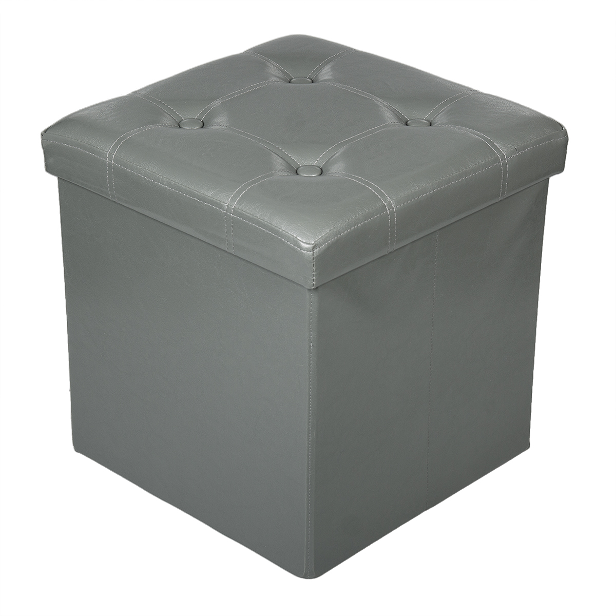 Storage ottoman faux leather collapsible foldable seat for Storage ottoman seat