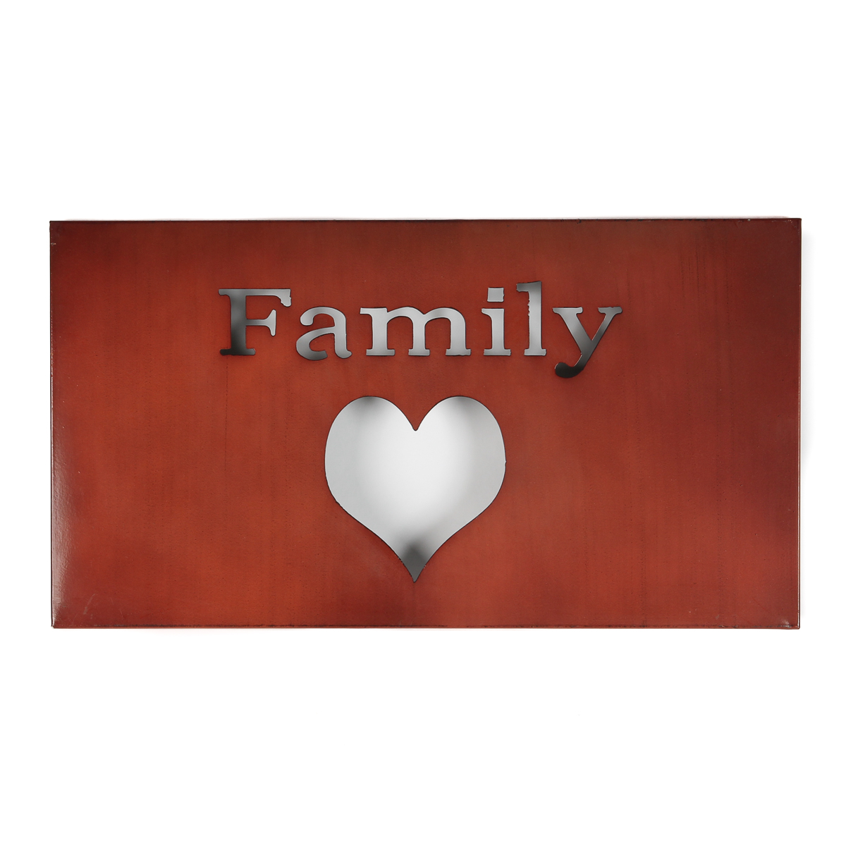 Family Word Home Decor Metal Wall Art ~ Family heart metal wall art love motivational word sign