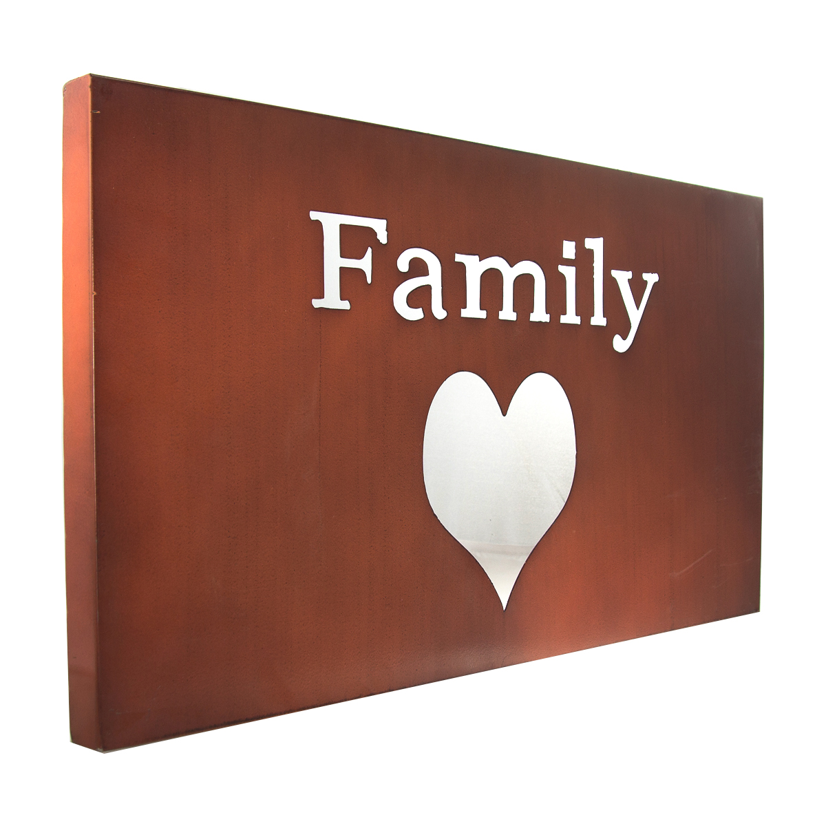 Family heart metal wall art love motivational word sign for I sign decoration