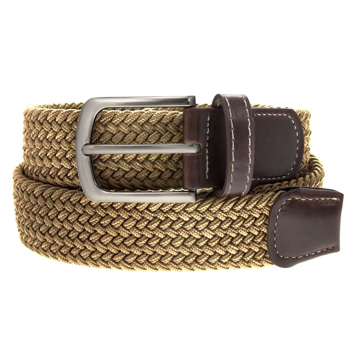 Braided Belt Nickel Finish Buckle Faux Leather Elastic ...