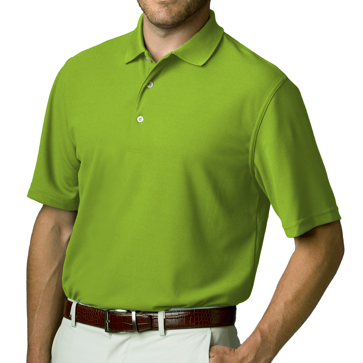 Greg norman men s playdry short sleeve pique collar tennis for Men s athletic polo shirts