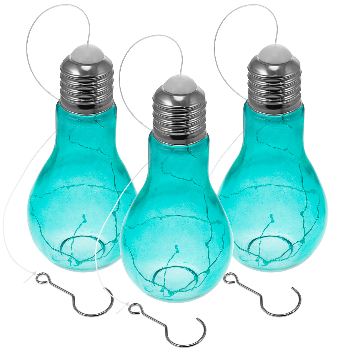 Hanging Light Bulbs Outdoor: 3 Hanging Bulb-Shaped Glass Lanterns Outdoor Pendant Lamps