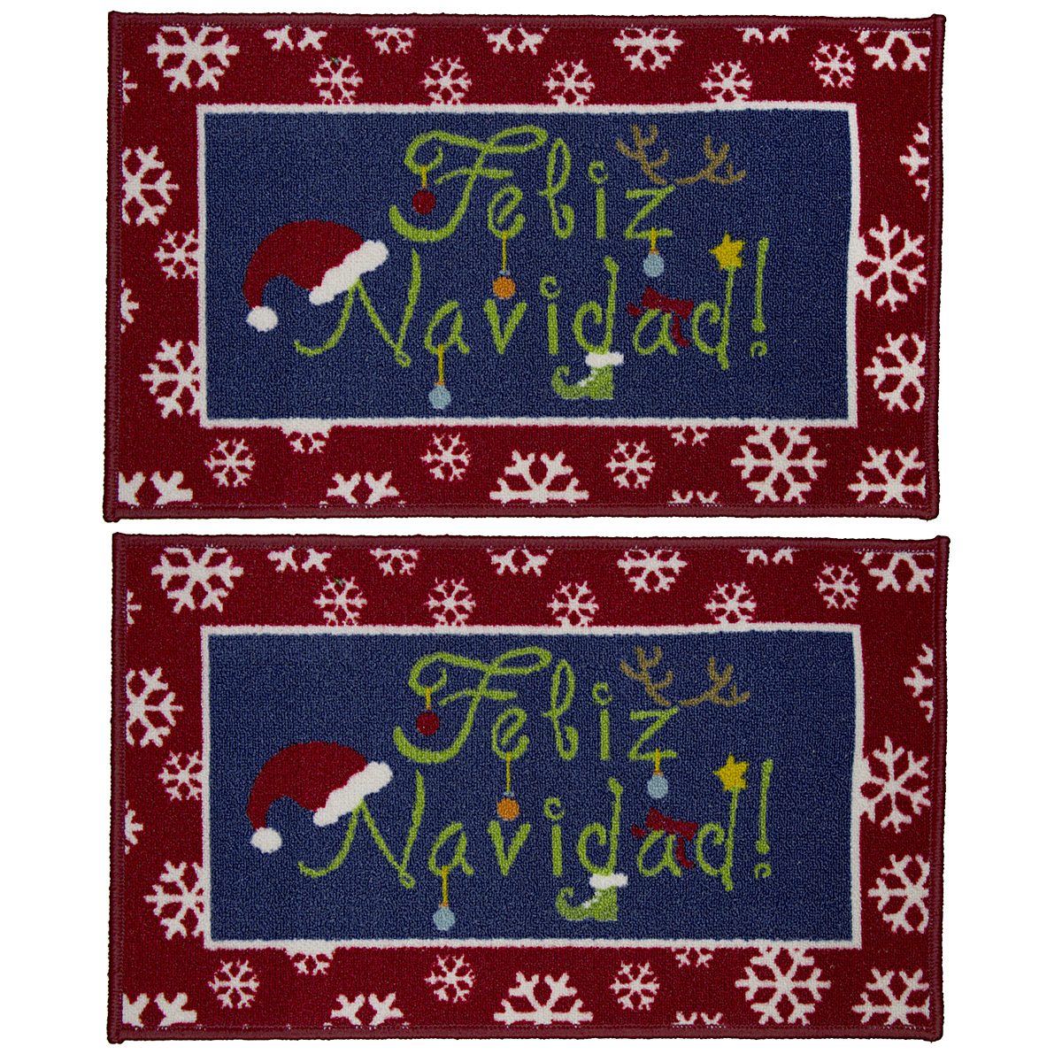 "2pk Holiday 17"" x 29"" Doormats Christmas Rug Nylon Nonslip"